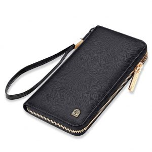 LAORENTOU Men Genuine Leather Long RFID Blocking Wallet Card Holder Clutch Wallets Cellphone Bag Purse Leather Mens Bifold Wallets with Zipper Coin Pocket Casual Men Purse Gift for Father Day(Black1)