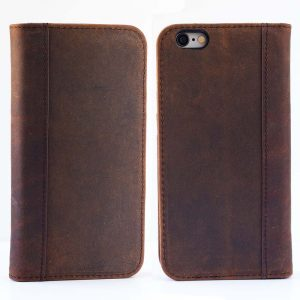 iPhone 6, iPhone 6S Case (Does NOT Fit 6/6s PLUS) by Cherry Tree Leather | Genuine Top-Grain Leather Case with 5 ID or Credit Card Slots, Stand, and Magnetic Closure | Men and Women (Natural Brown)