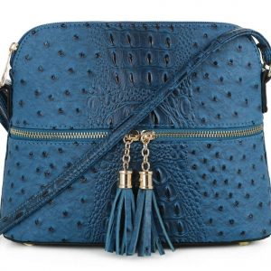 SG SUGU Crocodile Pattern Lightweight Medium Dome Crossbody Bag Shoulder Bag with Tassel | PEC
