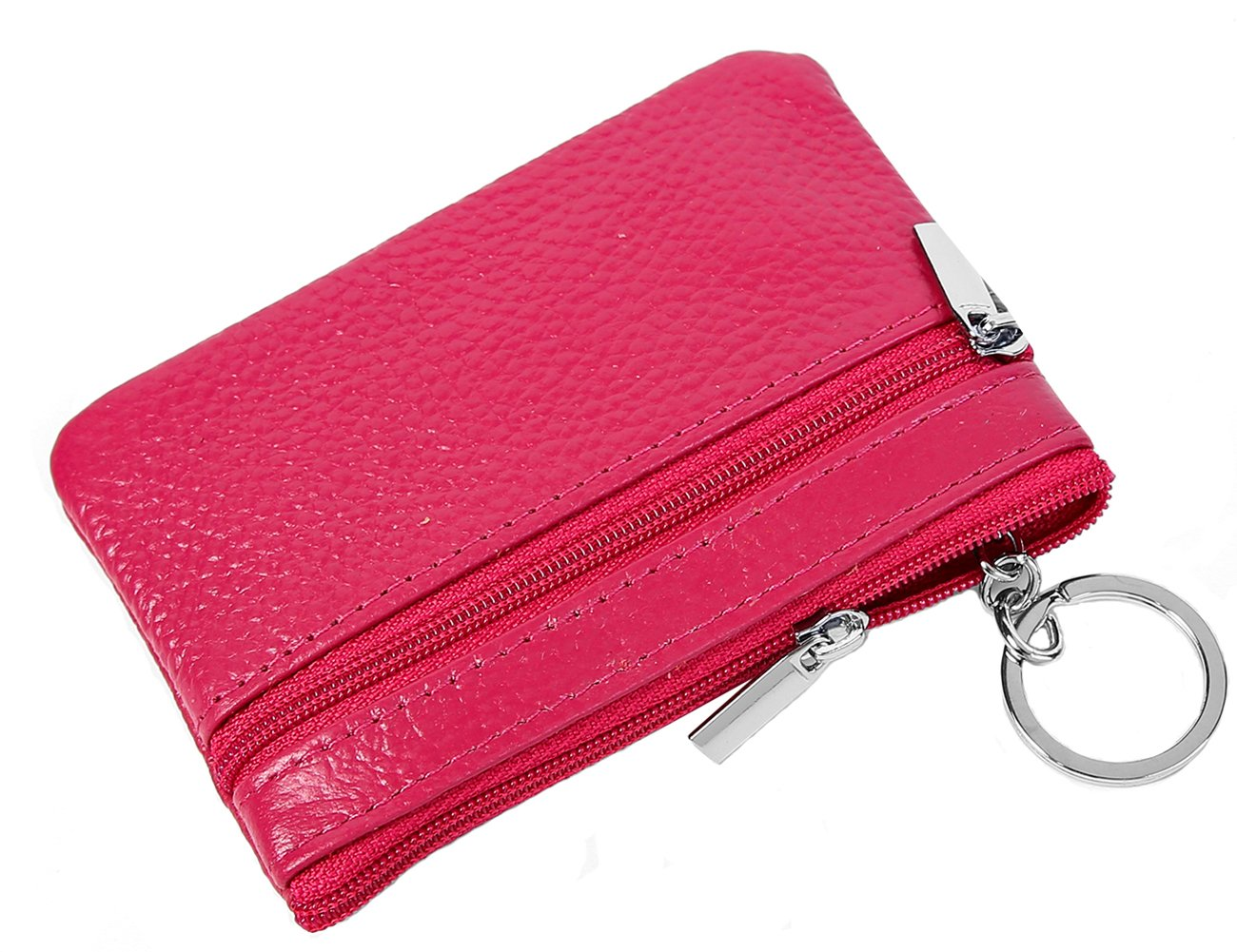 iSuperb RFID Blocking Coin Purse Genuine Leather Zipper Large Capacity Change Pouch Cash Credit Card Holder Wallet with Key Ring for Women Men