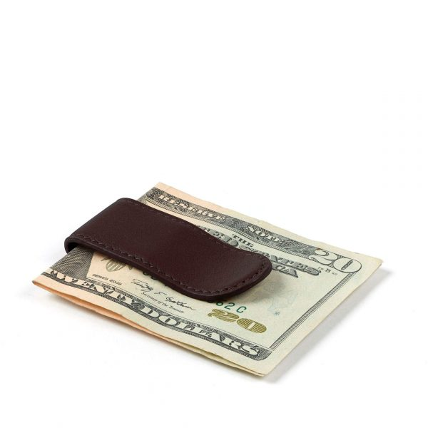 Leatherology Brown Metal Money Clip Card Holder, Minimalist Wallet, Full Grain Leather