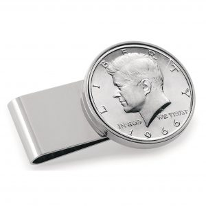 Coin Money Clip - JFK Half Dollar | Stainless Steel Moneyclip Layered in Silver-Tone Rhodium | Holds Currency, Credit Cards, Cash | Genuine U.S. Coin | Includes a Certificate of Authenticity