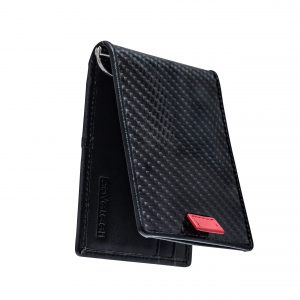 Premium Carbon Fiber Wallet with Money Clip, Slim Front Pocket Bifold RFID Blocking Tactical Card Holder for Men (Black)