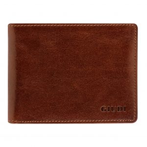 Giudi Elegant Bifold Men's Wallet Made in Italy - Soft Touch Genuine Leather - 2 Cash Pockets - 8 Card Holders Slots - Beautiful Brown Color - Excellent Expensive Gift for Man