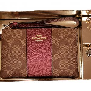 Coach Boxed Corner Zip Wristlet in Signature Canvas & 2 Detachable Charms