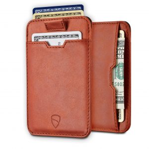 Vaultskin CHELSEA Slim Minimalist Leather Mens Wallet with RFID Blocking, Front Pocket Credit Card Holder (Cognac)