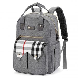 LifeSky Diaper Bag Backpack, Large Multi-Functional Baby Bags, Waterproof Travel Nappy Packs, Light Grey and Plaid