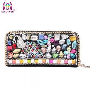 Diamond Flower Purse Ladies Long Leather Wallet