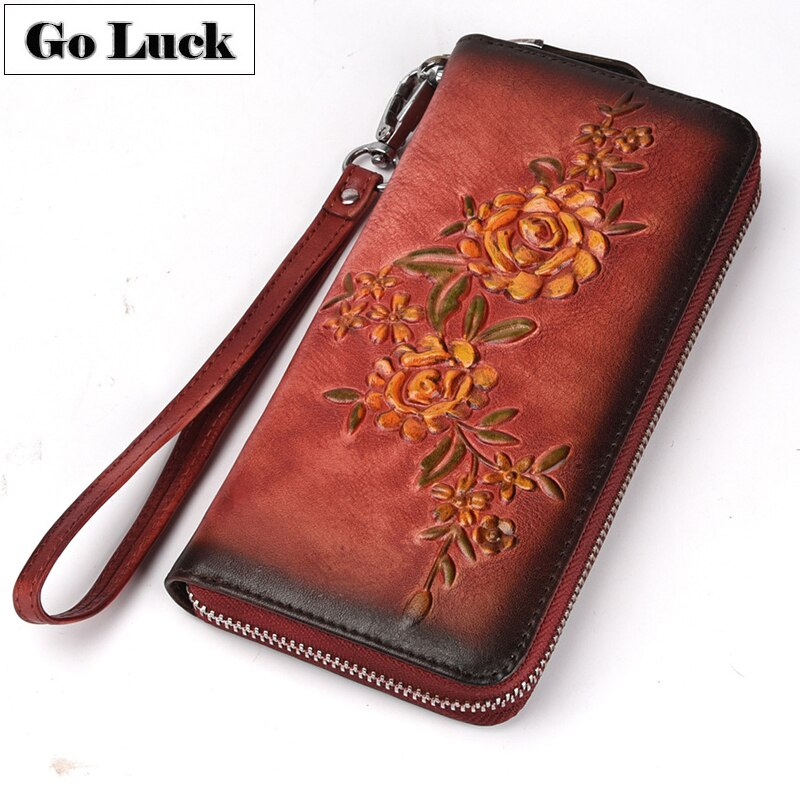 GO-LUCK Brand Genuine Leather Clutch Wallet