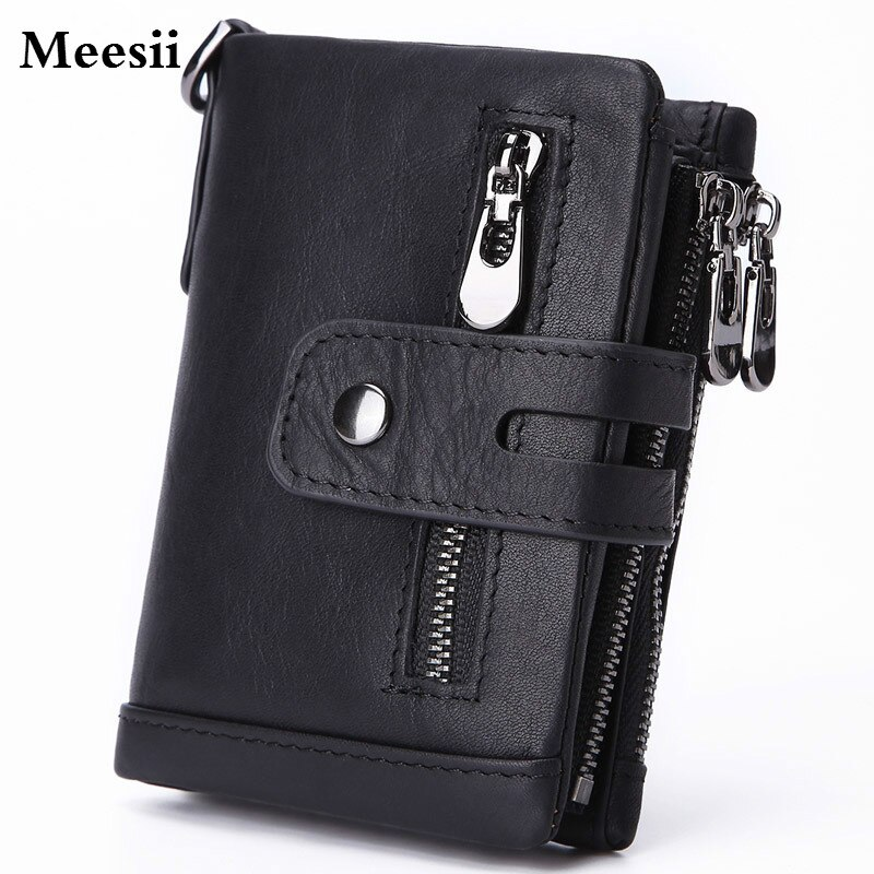 Genuine Leather Short Coin Purse Fashion Hasp Wallet