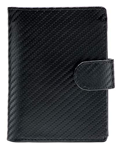 Large RFID Genuine Leather Card Holder Trifold Wallet Snap Closure 3 ID Windows for men (Carbon Fibre + Napa Leather)
