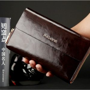 Luxury Shining Oil Wax Cowhide Men Clutch Bag Long