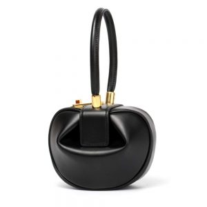 Mn&Sue Fashion Designer Women's Genuine Leather Top Handle Handbag Evening Bag Party Prom Wedding Purse (Normal, Black)