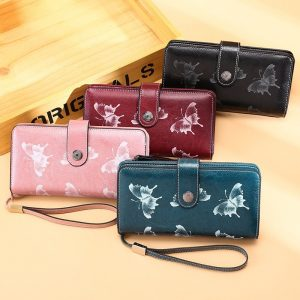 Rfid Genuine Leather Women Wallets Long Clutch