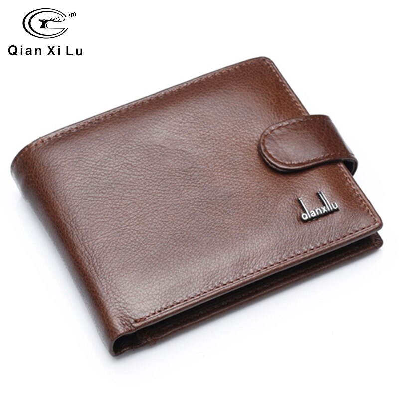 Split Leather Men Wallets With Coin Pocket Brown Wallet