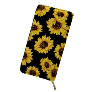 Sunflower PU-Leather Purse Women Daily Wallet Mini Clutch