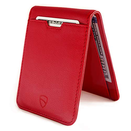 Vaultskin MANHATTAN Slim Minimalist Bifold Wallet and Credit Card Holder with RFID Blocking and Ideal for Front Pocket (Carmine Red)