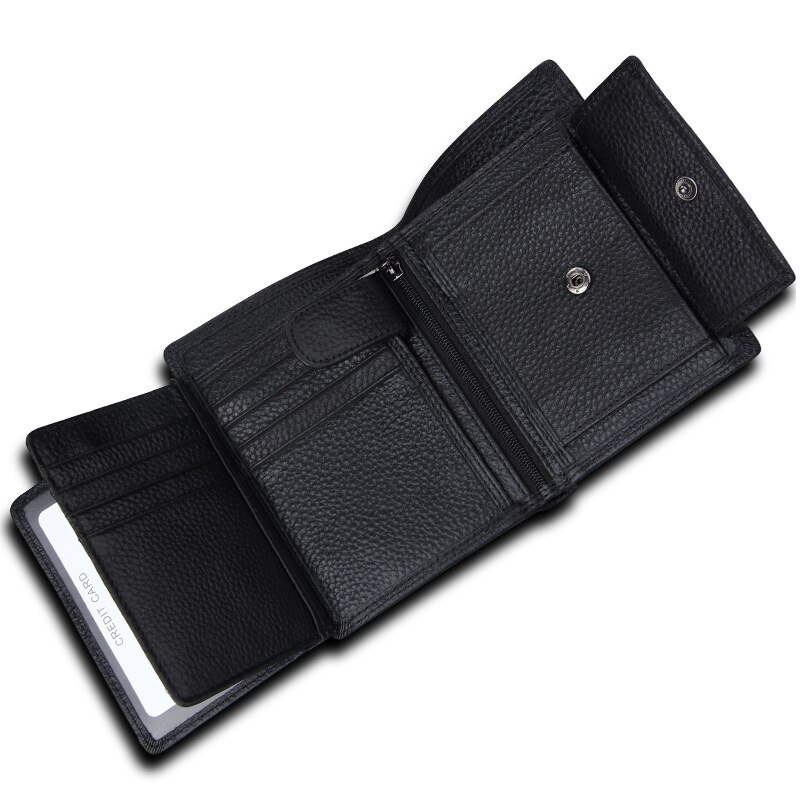 Wallet Genuine Leather Short Business Retro Trifold