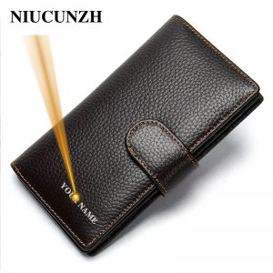genuine leather men's wallet for men hasp engraved